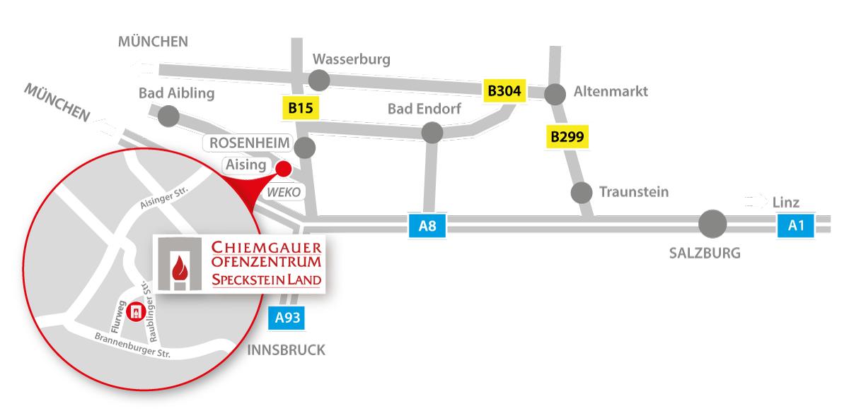 anfahrt chiemgauer ofenzentrum rosenheim